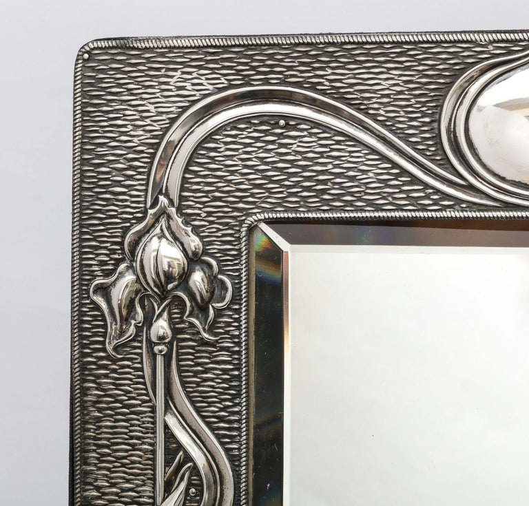 Arts & Crafts Sterling Silver-Mounted Table Mirror, by A. & J. Zimmerman In Good Condition For Sale In New York, NY