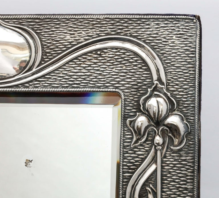 Early 20th Century Arts & Crafts Sterling Silver-Mounted Table Mirror, by A. & J. Zimmerman For Sale