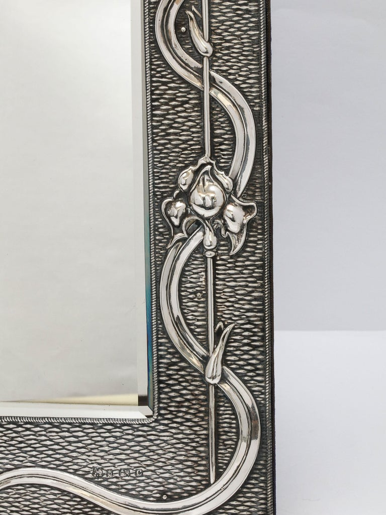 Arts & Crafts Sterling Silver-Mounted Table Mirror, by A. & J. Zimmerman For Sale 3