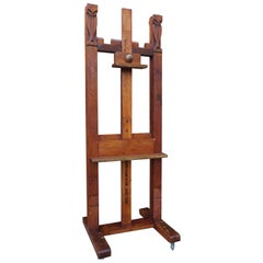Arts and Crafts Studio Easel / Gallery Display Stand w. Stylized Owl Sculptures