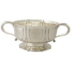 Arts & Crafts Style Antique Edwardian Sterling Silver Presentation Bowl