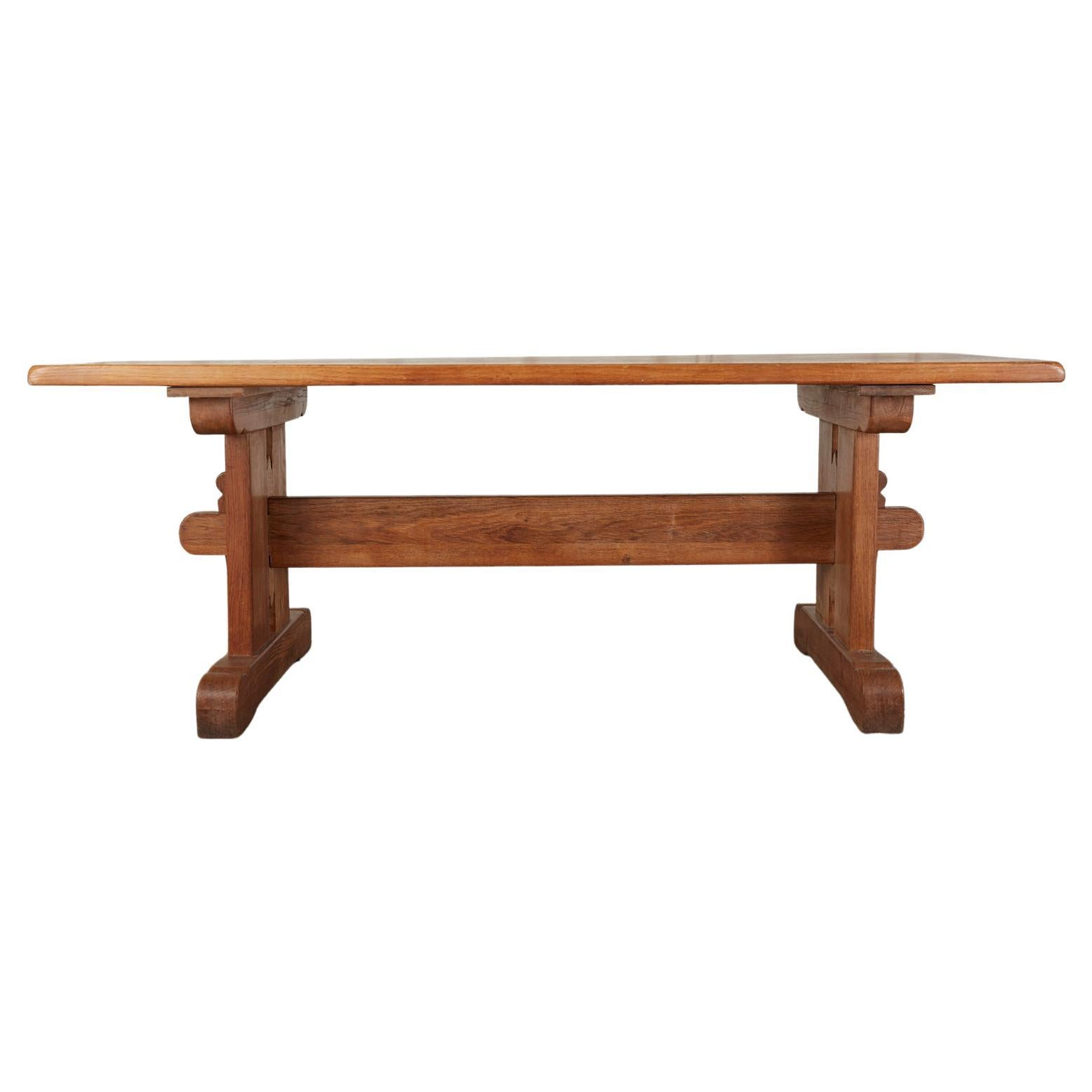 Arts & Crafts Style French Oak Farmhouse Trestle Dining Table