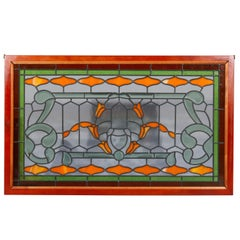 Arts & Crafts Style Leaded Glass Window, 20th Century