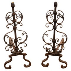 Arts and Crafts Style Scrollwork Andirons