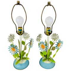 Italian Boho Chic Tole Metal Flowers Hand Painted Table Lamp, a Pair