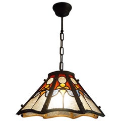 Arts & Crafts Tiffany Style Stain Leaded Glass and Brass Pendant Light Fixture