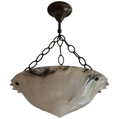 Arts & Crafts White and Black Stylized Flower Alabaster Pendant / Light Fixture