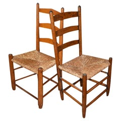 Arts & Crafts Wood Ladder Chairs with Woven Seats, a Pair
