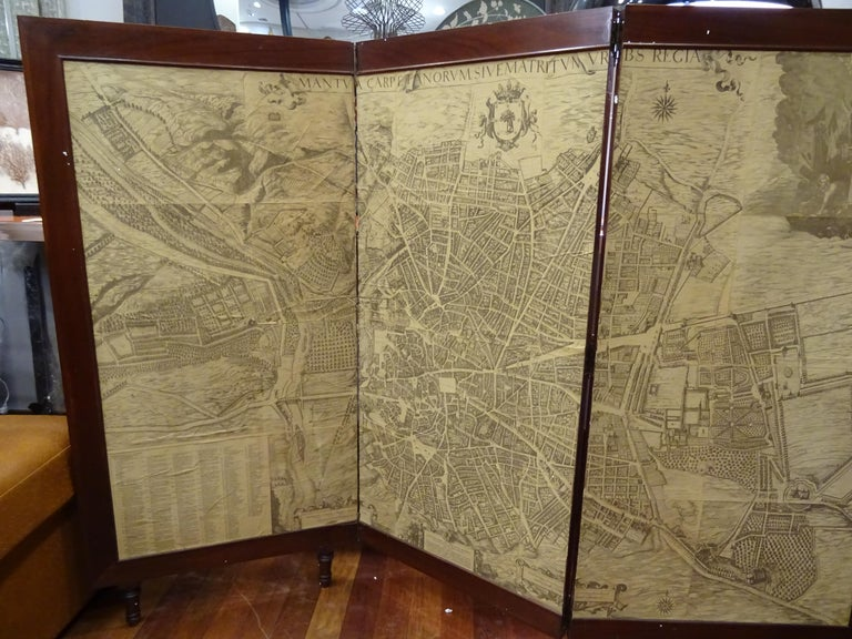 Arts and Crafts Arts & Crafts Wooden Screen with Madrid Map Engraving For Sale