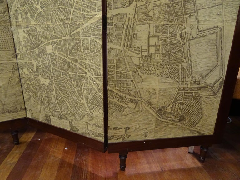 Spanish Arts & Crafts Wooden Screen with Madrid Map Engraving For Sale