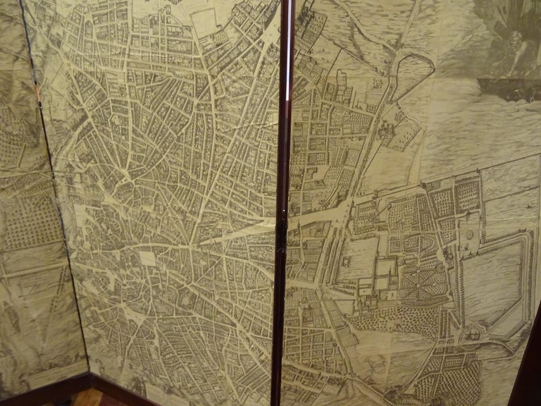 Hand-Crafted Arts & Crafts Wooden Screen with Madrid Map Engraving For Sale