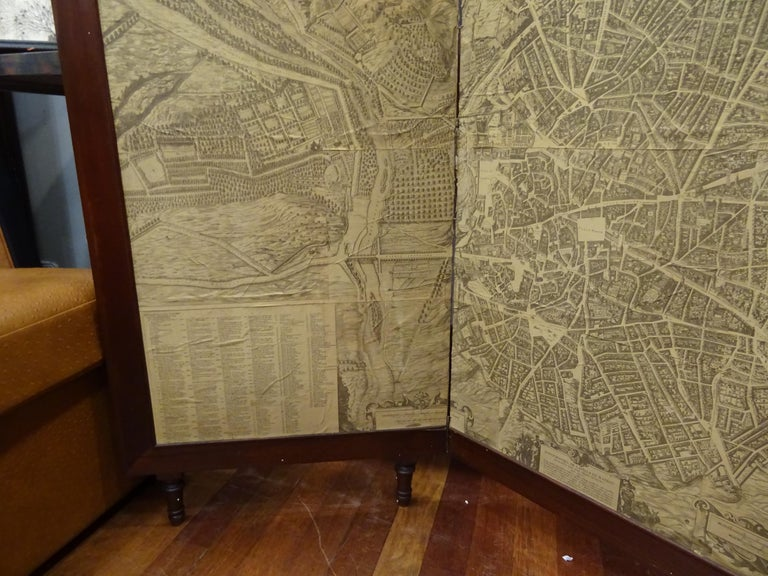 20th Century Arts & Crafts Wooden Screen with Madrid Map Engraving For Sale