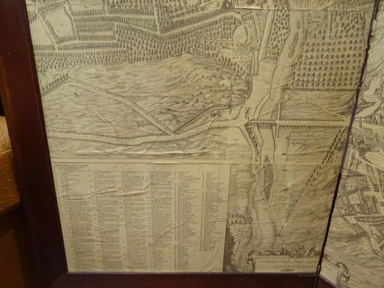 Hardwood Arts & Crafts Wooden Screen with Madrid Map Engraving For Sale