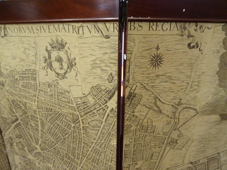 Arts & Crafts Wooden Screen with Madrid Map Engraving For Sale 1