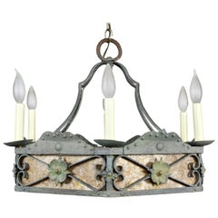 Arts & Crafts Wrought Iron and Mica Chandelier