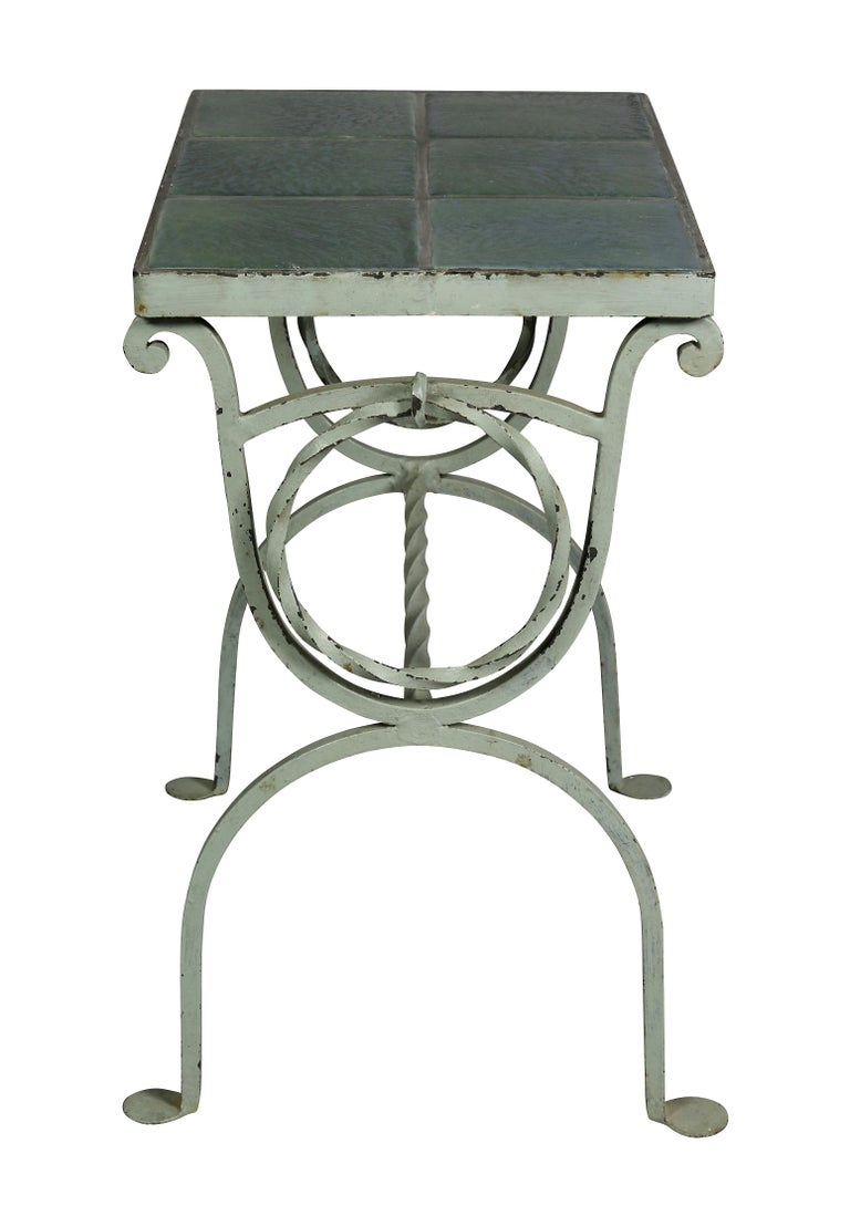20th Century Arts & Crafts Wrought Iron and Tile Top Side table For Sale