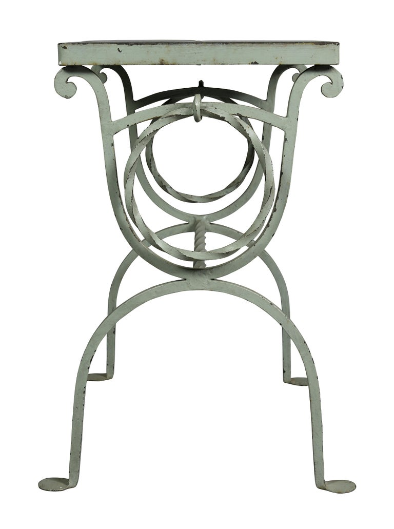 Arts & Crafts Wrought Iron and Tile Top Side table For Sale 2
