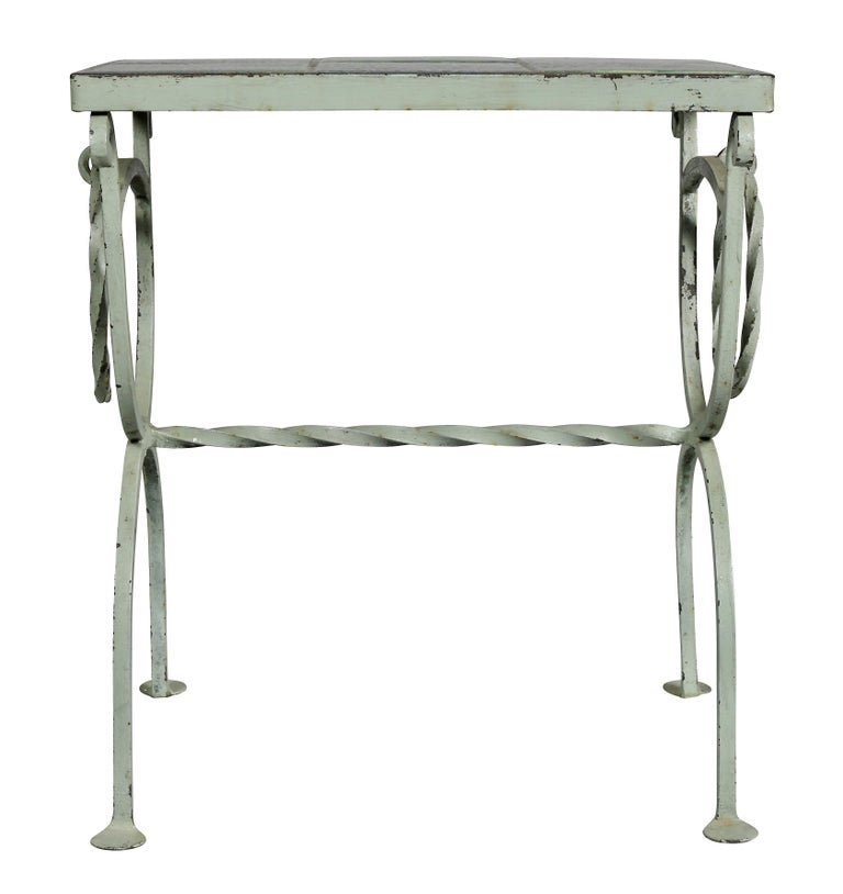 Arts & Crafts Wrought Iron and Tile Top Side table For Sale 3