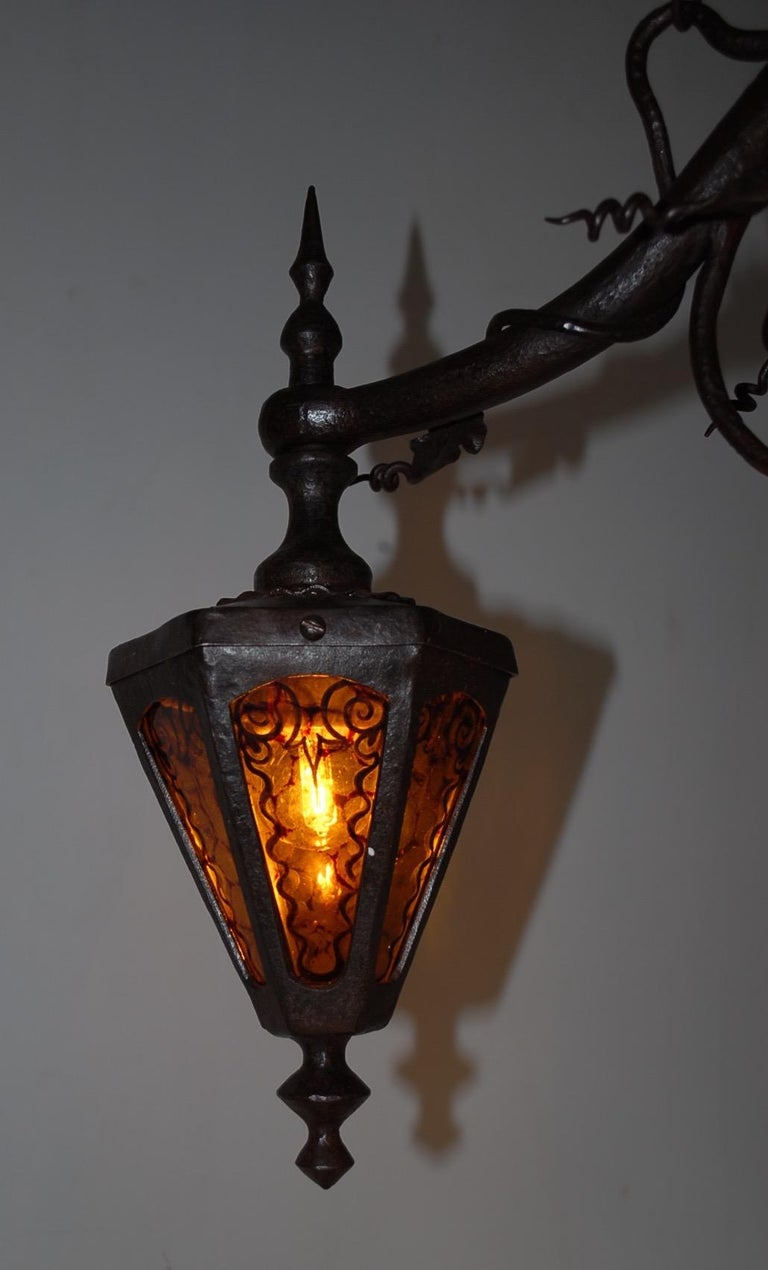 Arts and Crafts Wrought Iron & Stain Leaded Glass Wine Theme Pendant Light Lamp For Sale 9