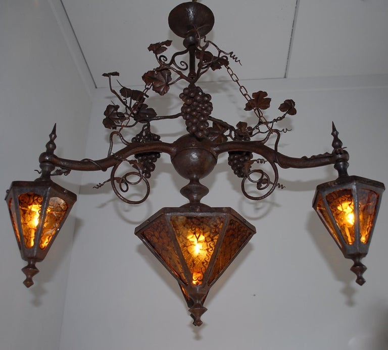European Arts and Crafts Wrought Iron & Stain Leaded Glass Wine Theme Pendant Light Lamp For Sale