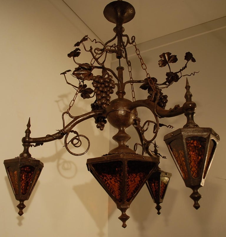 20th Century Arts and Crafts Wrought Iron & Stain Leaded Glass Wine Theme Pendant Light Lamp For Sale