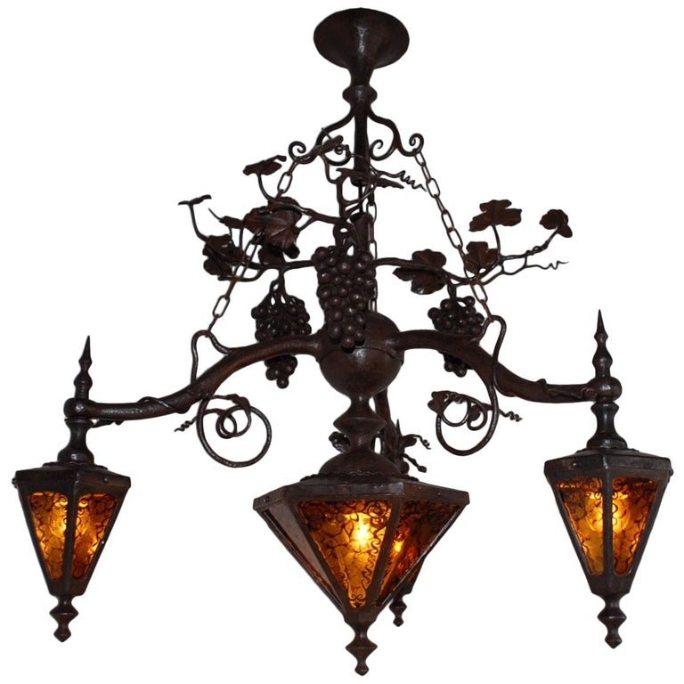 Arts and Crafts Wrought Iron & Stain Leaded Glass Wine Theme Pendant Light Lamp For Sale