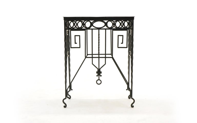 Beautifully crafted Mission / Arts & Crafts wrought iron table. About 33 inches tall. Can be used indoors or outdoors. We have had it expertly media blasted and powder coated in a satin black finish.