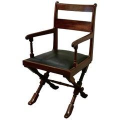Arts & Crafts X-Frame Mahogany Desk Chair