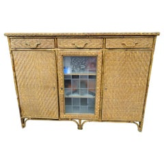 Arts & Crafts Buffet Chest of Drawers, Commode, Rattan, Wood