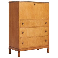 Arts & Craft Oak Secretaire Cabinet by Morris of Glasgow