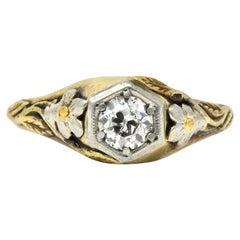 Arts & Crafts 0.42 Carat Diamond 14 Karat Tri-Gold Floral Engagement Ring