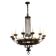 Arts & Crafts 12 Light Wrought Iron Chandelier Large Scale with Chain, Scrolls