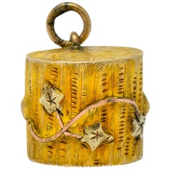 Arts & Crafts 14 Karat Tri-Colored Gold Log Charm
