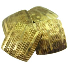 Arts & Crafts 14 Karat Yellow Gold Hammer Finish Carrington Cufflinks