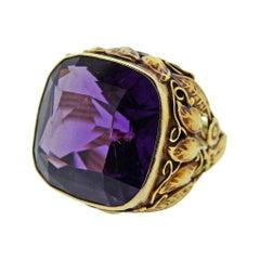 Arts & Crafts 25 Carat Amethyst Gold Ring