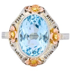 Arts & Crafts 3.10 Carat Aquamarine 14 Karat Tri-Colored Gold Floral Ring