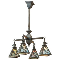 Arts & Crafts 4-Arm Chandelier with Original Glass Shades, circa 1910