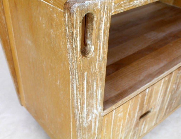 Arts And Crafts Adze Cut Ceruised Oak Finish Serving Cart