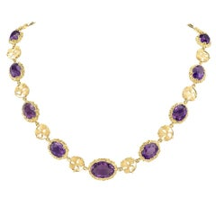 Arts & Crafts Amethyst Yellow Gold Link Necklace