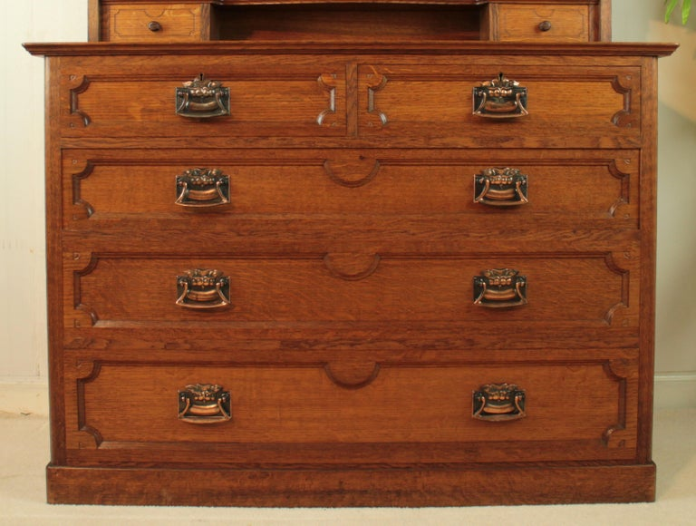 Arts Crafts Antique English Oak Bedroom Suite Attributed To Maple Co For