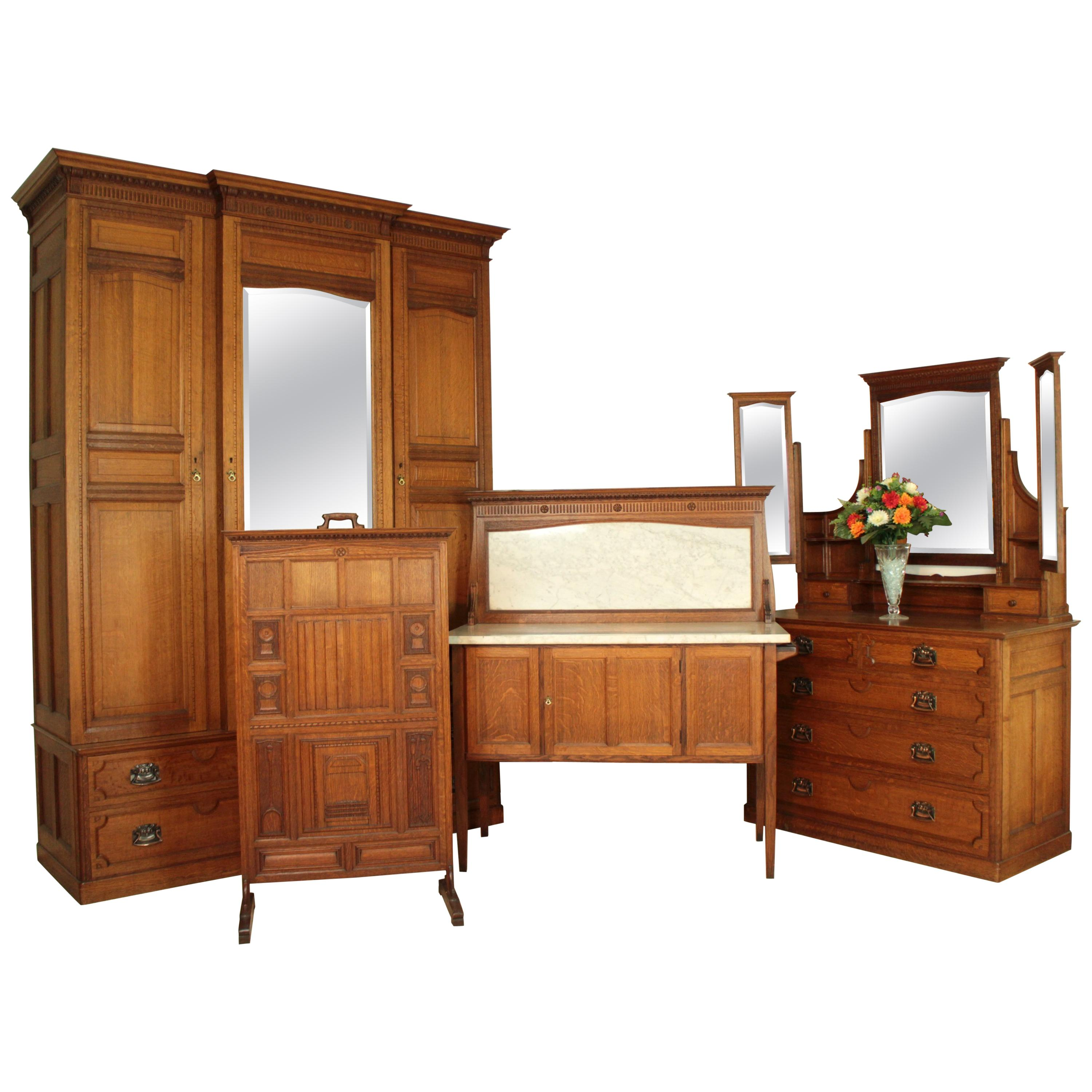 Arts and Crafts Antique English Oak Bedroom Suite, Attributed to ...