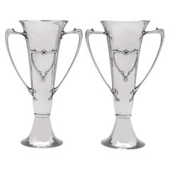 Arts & Crafts Antique Sterling Silver Pair of Vases by Elkington from 1905
