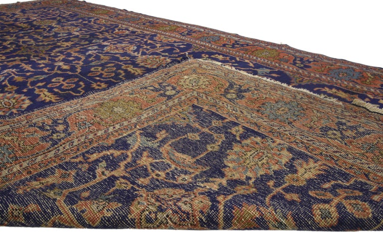 Hand-Knotted Arts & Crafts Antique Turkish Sparta Gallery Rug with Traditional Luxe Style For Sale