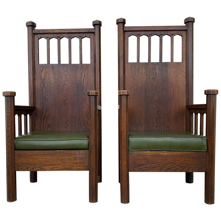 Arts & Crafts Arm Chairs, Early 1900s For Sale