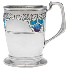 Arts & Crafts & Art Nouveau Enamelled Antique Sterling Silver Mug by Connell