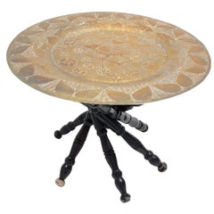 Arts & Crafts Barley Twist Oriental Wood and Brass Tea Side Table Vintage 1920s