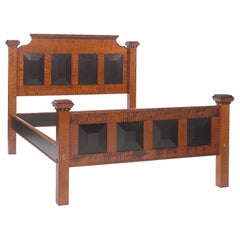 Arts & Crafts Bed in Amber Stained Tiger Maple with Ebonized Painted Detail