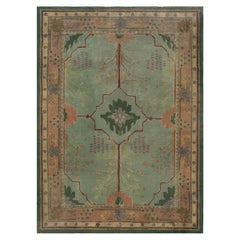 Arts & Crafts Beige, Green, Purple and Red Handwoven Wool Rug by Gavin Morton