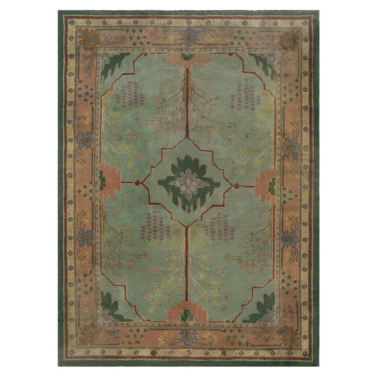 Arts & Crafts Beige, Green, Purple and Red Handmade Wool Rug by Gavin Morton For Sale