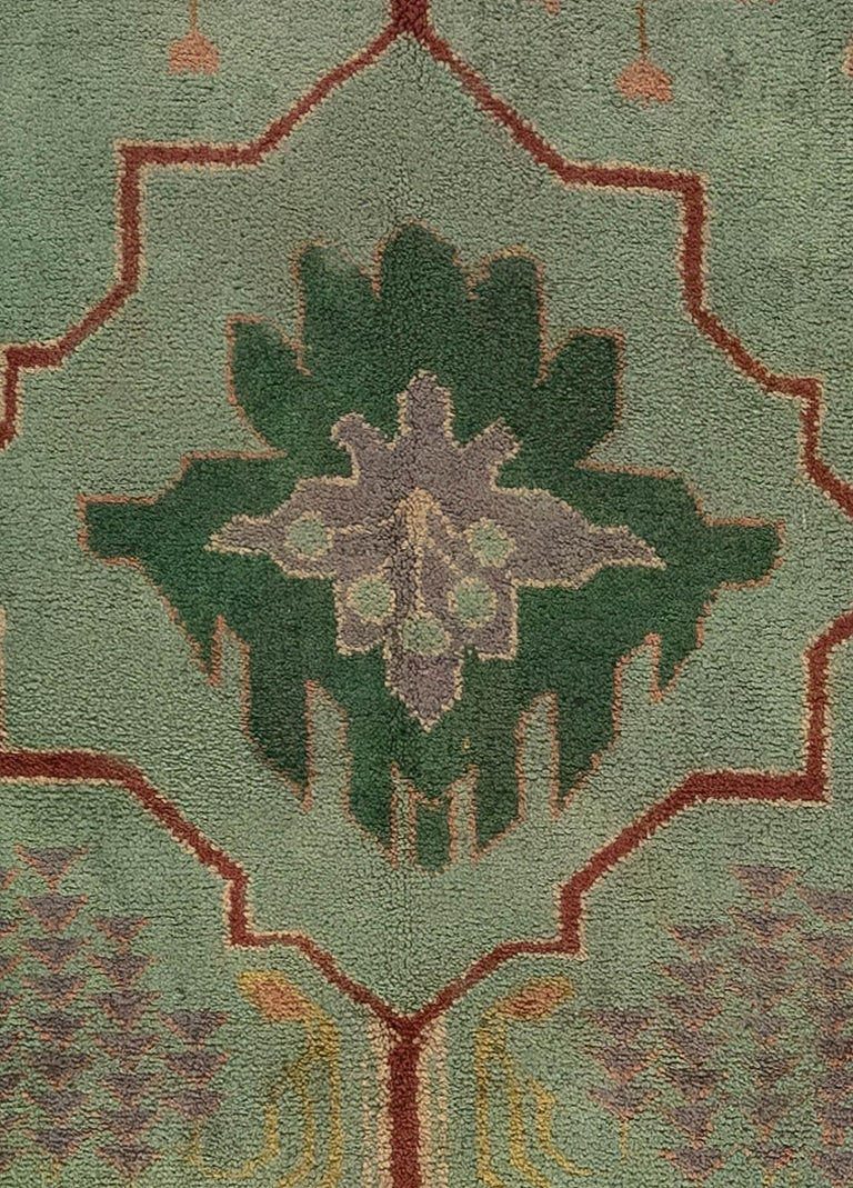 Arts & Crafts beige, green, purple and red handmade wool rug by Gavin Morton Size: 8'6